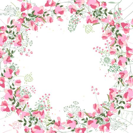 Cadre carré avec contour pois et fines herbes sur blanc. Motif floral pour votre conception de mariage, cartes de voeux florales, des affiches. Vecteurs