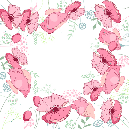 papaver: Floral abstract square template with stylized herbs and pink poppies.  Silhouette of plants.