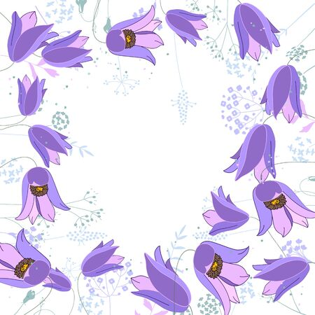 pulsatilla: Floral abstract square template with stylized herbs and blue flowers.  Silhouette of plants. Illustration