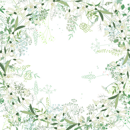 square frame: Square frame with contour galanthus and herbs on white. Pattern with flowers for your spring design, floral greeting cards, posters. Illustration