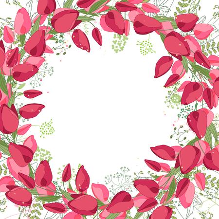 Cadre carré avec des tulipes de contour, des roses et des herbes sur blanc. Motif floral pour votre conception de mariage, cartes de voeux florales, des affiches.