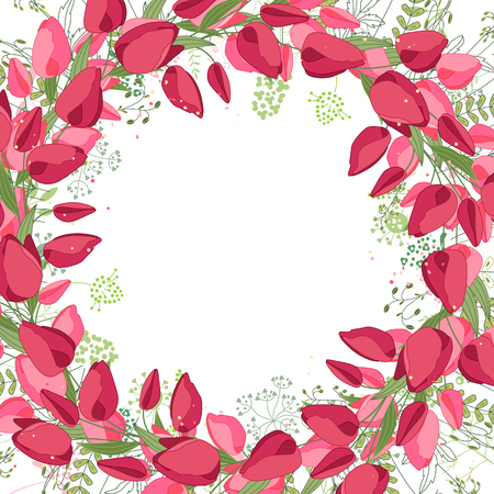 draw: Square frame with contour tulips,roses and herbs on white. Floral pattern for your wedding design, floral greeting cards, posters.