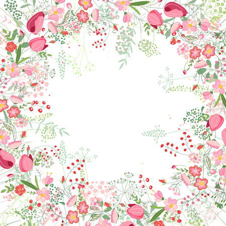 Square frame with contour tulips,roses and herbs on white. Floral pattern for your wedding design, floral greeting cards, posters.