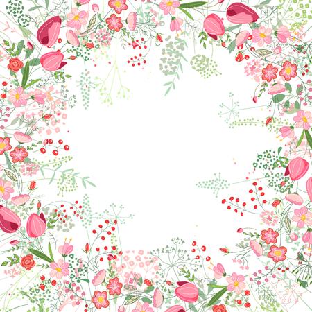zeichnen: Rahmen mit Kontur Tulpen, Rosen und Kräuter auf weiß. Blumenmuster für Ihre Hochzeit Design, Blumengrußkarten, Plakate. Illustration