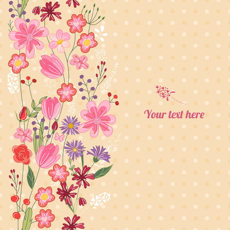 Floral spring template with cute bunches of wild flowers. For romantic and easter design, announcements, greeting cards, posters, advertisement.