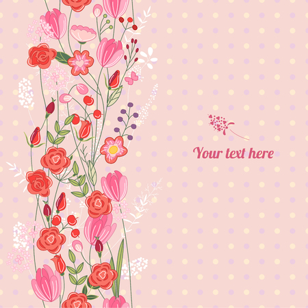 cute cards: Floral spring template with cute bunches of wild roses. For romantic and easter design, announcements, greeting cards, posters, advertisement. Illustration