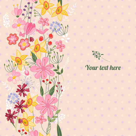 bunches: Floral spring template with cute bunches of wild flowers. For romantic and easter design, announcements, greeting cards, posters, advertisement.