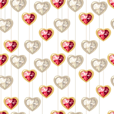 Seamless pattern with stylized diamond hearts. Endless texture for your design, romantic greeting cards, wedding announcements, fabrics. Vetores