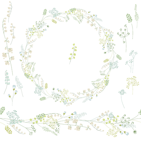 Floral round krans en eindeloze patroon penseel gemaakt van Convallaria. Bloemen voor romantische en Pasen, decoratie, wenskaarten, posters, trouwkaarten, reclame.