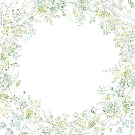 Bloemen vierkante wenskaart met gestileerde kruiden en lelietjes van dalen. Vector Illustratie