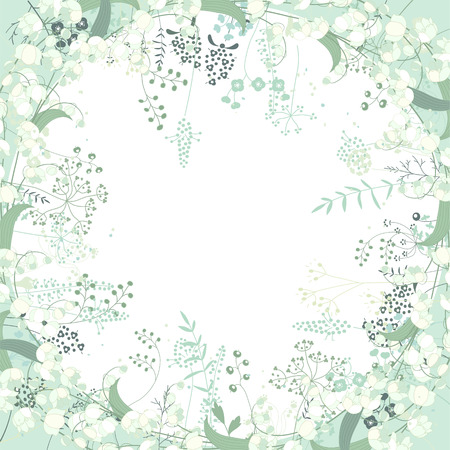 Vierkant frame met contour kruiden en convallaria op wit. Patroon met bloemen voor uw voorjaar ontwerp, bloemen wenskaarten, posters.