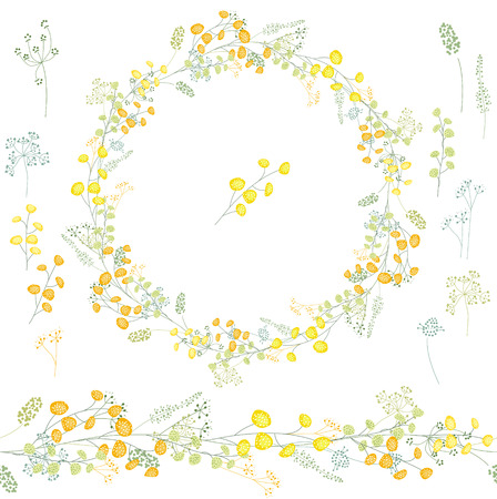 Floral round garland and endless pattern brush made of yellow mimosa. Flowers for romantic and easter design, decoration, greeting cards, posters, invitations, advertisement. Vector Illustration