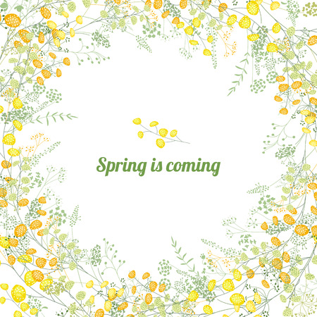 Floral square greeting card with stylized yellow mimosa and phrase spring is coming. Ilustração