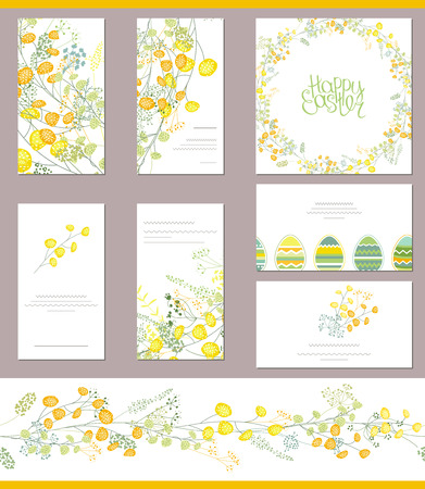 cute cards: Floral templates with cute bunches of yellow mimosa. For romantic, spring and easter  design, announcements, greeting cards, posters, advertisement.