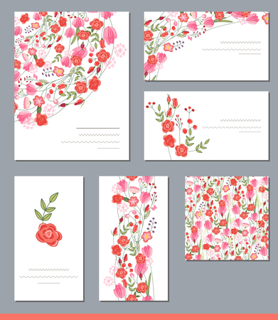greeting cards: Floral spring templates with cute bunches of red roses and other flowers. For romantic and wedding design, announcements, greeting cards, posters, advertisement.