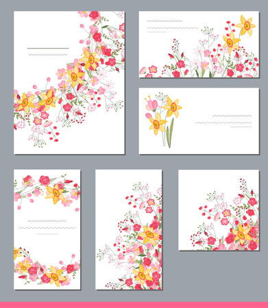 Floral spring templates with cute bunches of spring flowers floral spring templates with cute bunches of spring flowers for romantic and easter design mightylinksfo