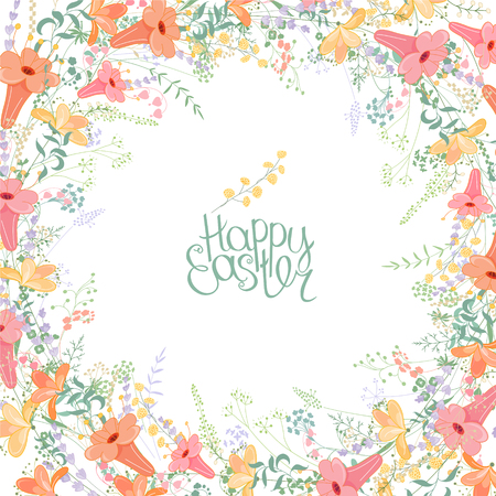 fancy design: Easter frame with contour fancy flowers. Template for your design, greeting cards, festive announcements, posters.