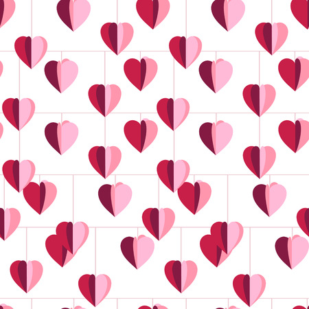 flimsy: Festive seamless pattern with hanging hearts cut from paper.  Endless texture for your design, greeting cards, announcements, posters. Illustration