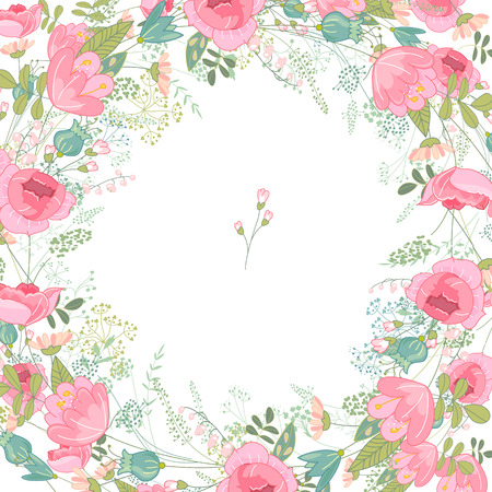 Spring frame with contour roses and different flowers. Template for your design, greeting cards, wedding announcements, posters. Illustration