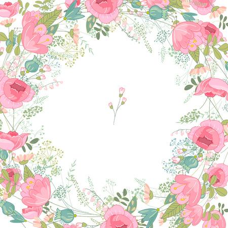 Telaio primavera con le rose di contorno e fiori diversi. Modello per la progettazione, biglietti di auguri, partecipazioni di nozze, manifesti.