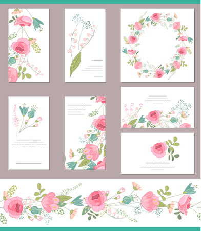 Floral templates with cute bunches of red roses. For romantic and wedding design, announcements, greeting cards, posters, advertisement.