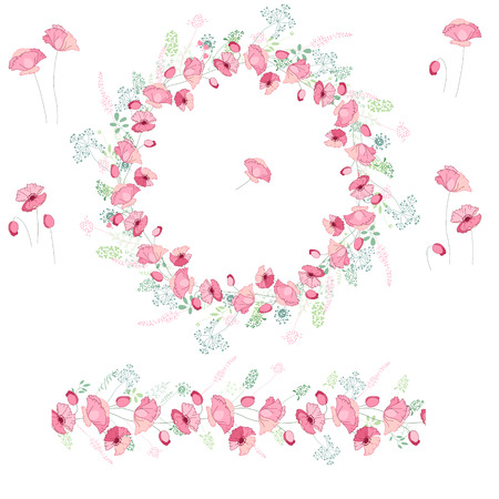 papaver: Floral round garland and endless pattern brush made of pink poppies. Flowers for romantic and easter design, decoration,  greeting cards, posters, advertisement.