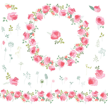 floral objects: Floral wreath with  roses and herbs isolated on white. Endless horizontal pattern brush. Objects for your design, greeting cards, wedding announcements, posters.