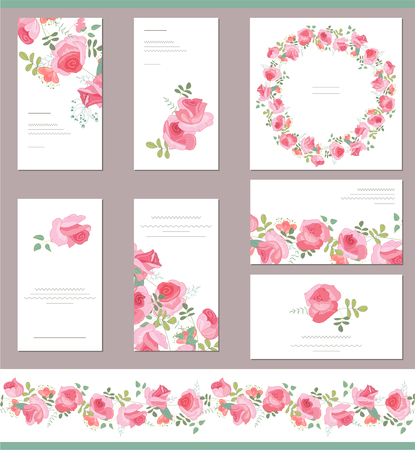 clip art draw: Floral templates with cute bunches of red roses. For romantic and wedding design, announcements, greeting cards, posters, advertisement.