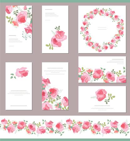 zeichnen: Floral-Vorlagen mit niedlichen Trauben von roten Rosen. Für romantische und Hochzeit Design, Ankündigungen, Grußkarten, Plakate, Werbung.
