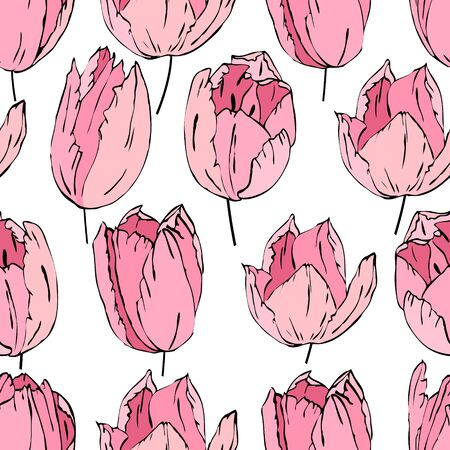tulipa: Floral seamless pattern made of pink tulips. Endless texture for romantic  design, decoration,  greeting cards, posters,  invitations, advertisement.