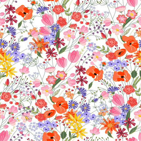 Floral seamless pattern with bright summer flowers. Endless texture for romantic  design, decoration,  greeting cards, posters,  invitations, advertisement. Ilustração