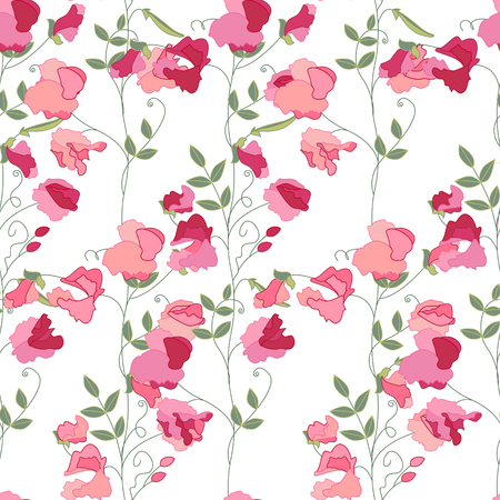 sweet pea flower: Floral seamless pattern with stylized sweet peas. Endless texture for your design, decoration,  greeting cards, posters,  invitations, advertisement.