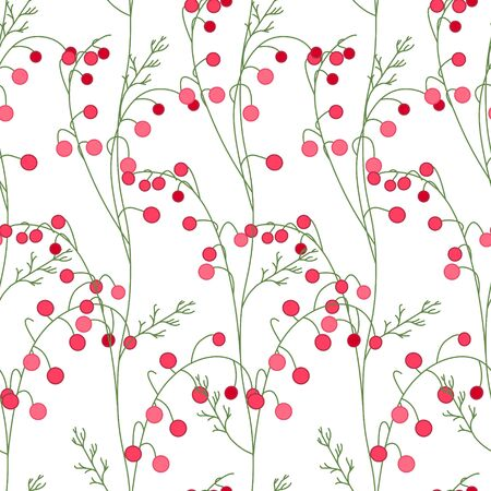floral decoration: Floral seamless pattern with stylized red berries. Endless texture for your design, decoration,  greeting cards, posters,  invitations, advertisement. Illustration