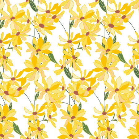 yellow daisy: Floral seamless pattern made of yellow daisy flowers. Endless texture for  design, decoration,  greeting cards, posters,  invitations, advertisement. Illustration