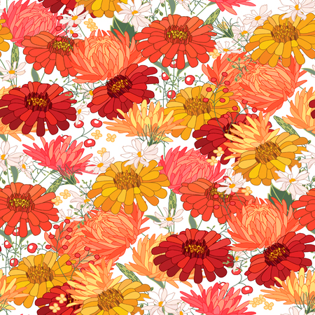 orange gerbera: Floral seamless pattern with autumn flowers. Endless texture for romantic  design, decoration,  greeting cards, posters,  invitations, advertisement.
