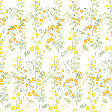 Floral seamless pattern made of yellow mimosa. Endless texture for spring design, decoration, greeting cards, posters, invitations, advertisement.