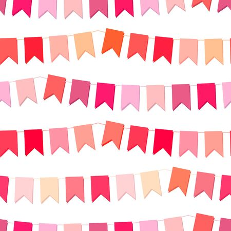 flimsy: Festive seamless pattern with hanging flags cut from paper.  Endless texture for your design, greeting cards, wedding announcements, posters. Illustration