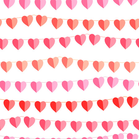flimsy: Festive seamless pattern with hanging hearts cut from paper.  Endless texture for your design, greeting cards, wedding announcements, posters. Illustration