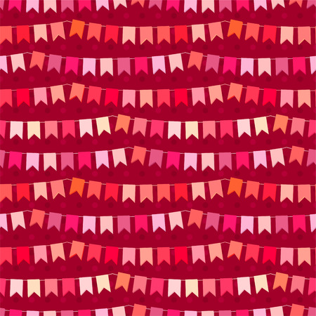 out of engagement: Festive seamless pattern with hanging flags cut from paper.  Endless texture for your design, greeting cards, wedding announcements, posters. Illustration