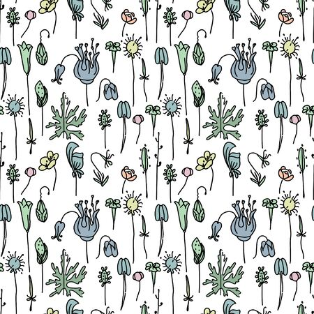 flax: Seamless pattern with floral seeds. Endless texture for your design, announcements, postcards, posters. Illustration