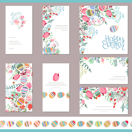 greeting cards: Floral spring templates with cute flowers and painted eggs. Endless horizontal pattern brush with eggs. For romantic and easter design, announcements, greeting cards, posters, advertisement.