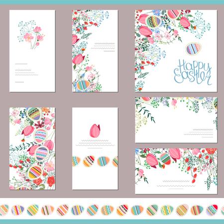 Modèles floraux de printemps avec des fleurs mignonnes et des oeufs peints. Brosse à motif horizontal sans fin avec des oeufs. Pour le design romantique et de pâques, annonces, cartes de v?ux, affiches, publicité.
