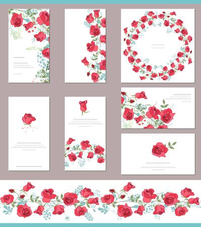 Blumenfrühlingsvorlagen mit niedlichen Trauben von roten Rosen. Endlose horizontale Musterpinsel. Für romantische und Ostern Design, Hochzeit Ankündigungen, Grußkarten, Plakate, Werbung.