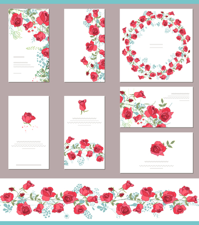 Floral spring templates with cute bunches of red roses. Endless horizontal pattern brush. For romantic and easter design, wedding announcements, greeting cards, posters, advertisement.
