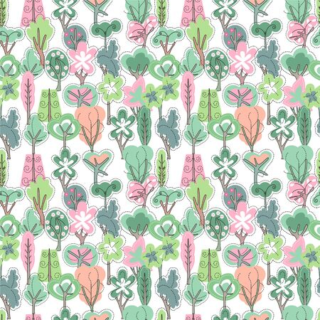 bush babies: Seamless pattern with spring forest. Endless texture with trees for easter and season design, decoration,  greeting cards, posters,  invitations, advertisement.