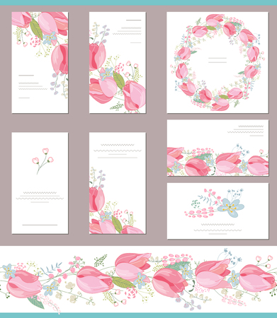 bunch of flowers: Floral spring templates with cute bunches of red tulips. For romantic and easter design, announcements, greeting cards, posters, advertisement.
