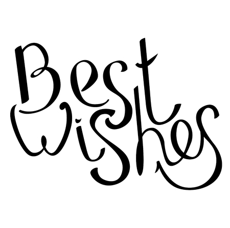 best wishes: Phrase Best wishes isolated on white. Black and white.