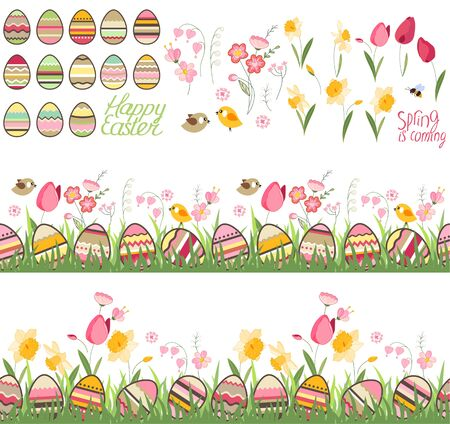 tulips in green grass: Festive spring seamless pattern brushes. Endless horizontal borders with eggs on green grass. Flowers, tulips and birds. For your design, greeting cards,  wrappings, fabrics, announcements.