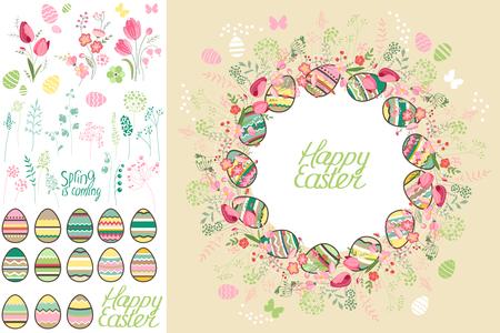 Frühling Grußkarte. Phrase Frohe Ostern. Frühlingsblumen, Eier und Schmetterlinge. Vorlage für Ihr Design, festliche Grußkarten, Ankündigungen, Plakate.