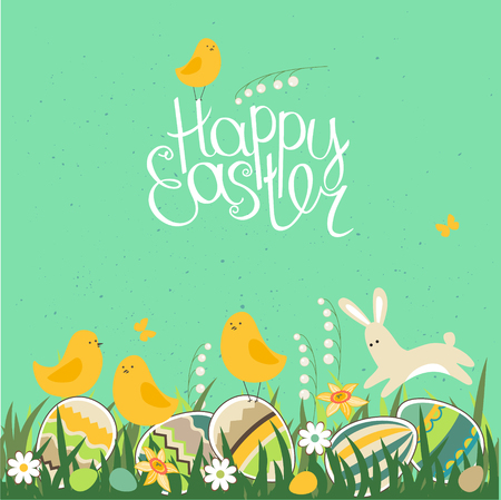 Spring greeting card. Phrase Happy Easter. Painted eggs, grass, spring flowers, rabbit and chickens. Template for your design, festive greeting cards, announcements, posters.